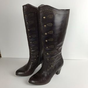 Reba Dixie Brown Boots with stud embellishment